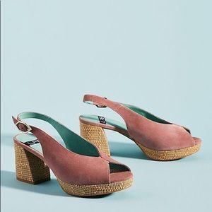 Anthropologie Lab Rafia Slingback Heels Size 39